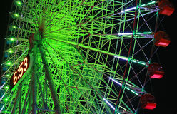 Night view of the illuminations of the Ferris wheel. Night view of the green illuminations of the Ferris wheel of Yokohama, Japan Stock Photography