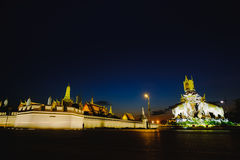 Night view image in front of the Grand Palace or Emerald Buddha Temple. Royalty Free Stock Photos