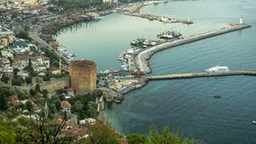 Night View of Alanya Castle stock images