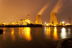 Night view of industrial plants Stock Photo