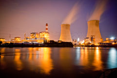 Night view of industrial plants Stock Images