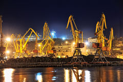 Night view of the industrial port Royalty Free Stock Photography