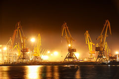 Night view of the industrial port Stock Photos