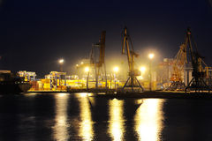 Night view of the industrial port Stock Images