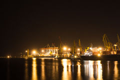 Night view of the industrial port Stock Photography