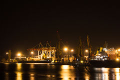 Night view of the industrial port Stock Photo