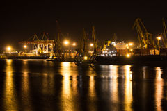 Night view of the industrial port Royalty Free Stock Photos
