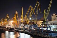 Night view of the industrial port and ship Royalty Free Stock Photography