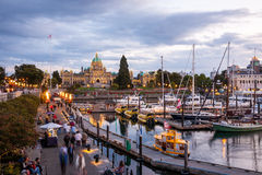 Night view of Inner Harbour in Victoria Royalty Free Stock Photo