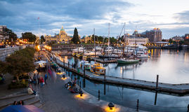 Night view of Inner Harbour in Victoria Stock Photography