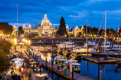 Night view of Inner Harbour in Victoria Royalty Free Stock Image