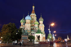 Night view of Intercession Cathedral St. Basil's on Red square, Stock Photography