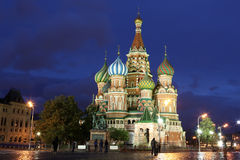Night view of Intercession Cathedral St. Basil's on Red square, Royalty Free Stock Photos