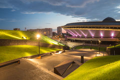Night view of the International Conference Center in Katowice. Sports hall Spodek in Katowice, Poland Stock Photos