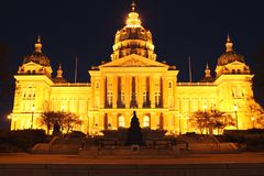 Night View of Iowa State Capitol. A night view of the Iowa State Capitol in Des Moines Iowa Royalty Free Stock Image