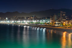 Night view of Ipanema in Rio de Janeiro Royalty Free Stock Images