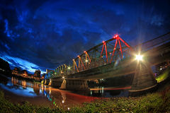 Night View of iron Bridge in Chiang mai Thailand Royalty Free Stock Photography