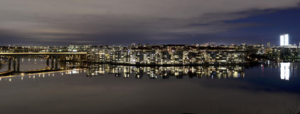 Night view of the island Lilla Essingen in Stockholm stock photography