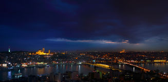 Night view of Istanbul and Big Horn from Galata Tower, Bosphorus Stock Photo