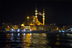 Night view of Istanbuls New Mosque Royalty Free Stock Images