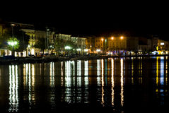 Night view of the Italian city Salo Royalty Free Stock Photography