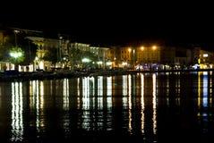 Night view of the Italian city Salo Royalty Free Stock Photography