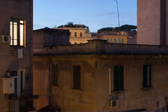 Night view of italian houses. Italian house viewed at night in rome, italy Royalty Free Stock Image