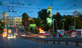 Night view of Ivanovo - Lenin Avenue Stock Image