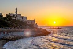 Night view of Jaffa from the Tel Aviv Promenade stock image