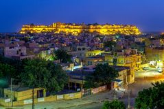 Night view of jaisalmer for in rajasthan, india. `The Golden city`, a city in the Indian state of Rajasthan, located 575 kilometres west of the state capital Royalty Free Stock Photo