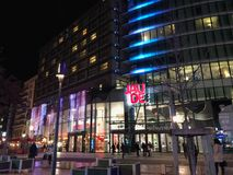 Night view of Jaude centre mall on Place de Jaude square in Clermont Ferrand stock photo