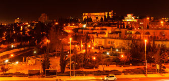 Night View of Jerusalem Streets with King David Hotel Building, Stock Image