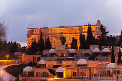 Night View of Jerusalem Streets with King David Hotel Building, Stock Photography