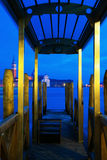 Night view of a jetty in Venice Stock Image