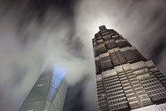 Night view of  jin mao tower and world financial Royalty Free Stock Image