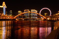 Night view of Jingang bridge and the eye of Tianji Royalty Free Stock Photo