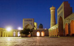 Night view of Kalon mosque and minaret - Bukhara Stock Images