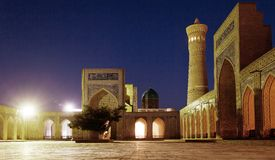 Night view of Kalon mosque and minaret - Bukhara Stock Photos