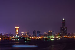 Night view of Kaohsiung harbor Stock Images