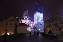 Night view of  Karlov bridge Royalty Free Stock Photography