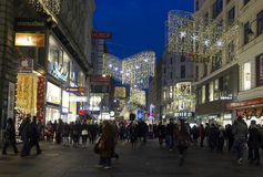 Night view of Kartner street in Vienna at winter time. VIENNA, AUSTRIA - JANUARY 1 2016: Night view of Kartner street in Vienna at winter time, with Christmas Stock Photos