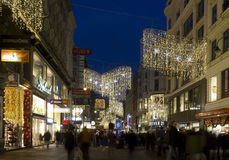 Night view of Kartner street in Vienna at winter time. VIENNA, AUSTRIA - JANUARY 1 2016: Night view of Kartner street in Vienna at winter time, with Christmas Stock Photography