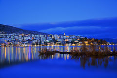 Night view of Kastoria and lake Orestiada Royalty Free Stock Photo