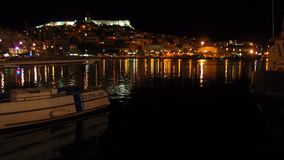 Night view of Kavala Castle stock photos