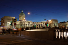 Night view of Kazan Cathedral in Saint Petersburg Stock Images
