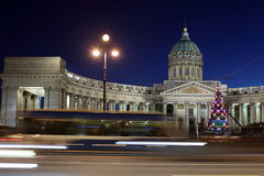 Night view of Kazan Cathedral in Saint Petersburg Stock Photos