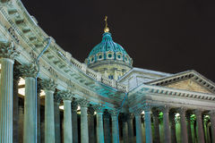 Night view of Kazan Cathedral in St. Petersburg Stock Images
