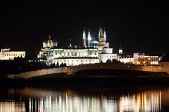 Night view on kazan kremlin with reflection in river Stock Photos