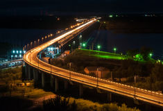Night View of the Khabarovsk Bridge across the Amur River Royalty Free Stock Image