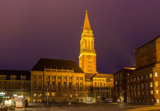 NIght view of Kiel city hall, Germany Royalty Free Stock Image